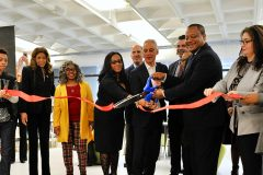 Mayor Rahm Emanuel, CPL Commissioner Brian Bannon and 6th Ward Alderman Roderick Sawyer joined PBC Executive Director Carina E. Sánchez and members of the Chatham community to cut the ribbon on Whitney Young Library's renovated and expanded facility.